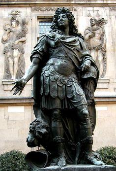 Statue of Louis XIV, Musee Carnavalet courtyard, Le Marais district, Paris, March 2003.