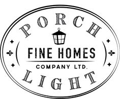Porch Light Fine Homes logo and identity. Inspired by Classic Southern Architecture.
