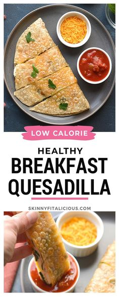 Healthy Breakfast Quesadilla is low calorie, gluten free and high protein! #glutenfree #healthy #breakfast #quesadilla #lowcalorie #highprotein #lowcaloriediet Healthy Gluten Free Recipes, Heart Healthy Recipes, Low Calorie Recipes, Paleo, Keto, Healthy Food, Healthy Quesadilla, Breakfast Quesadilla, Healthy Low Calorie Breakfast