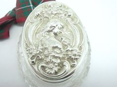 Silver Trinket Box Cut Glass Sterling Art Nouveau by DartSilverLtd, £145.00