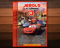 Personalized Birthday Invitations - Cars on Etsy, $10.00