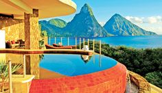 Jade Mountain Resort in St. Lucia and Jade Mountain Resort is within my reach! Can't wait to try out my private infinity pool while enjoying the magnificent view. St Lucia Resorts, St Lucia Hotels, Jade Mountain St Lucia, Santa Lucia, Best Honeymoon Destinations, Dream Vacations, Vacation Spots, Honeymoon Ideas, Romantic Honeymoon