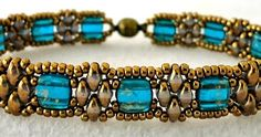 "STACKERS VARIATION   11/0 seed beads Miyuki ""Dark Bronze"" (457)  SuperDuo beads ""Crystal Luster Gold""  CzechMates ""Capri Blue Gold Marble..."
