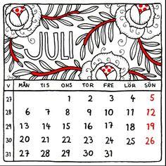 July 2015. Calendar by Jytte Hviid.