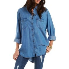 Charlotte Russe Med Wash Denim Denim Chambray Tunic Top by Charlotte... ($27) ❤ liked on Polyvore featuring tops, tunics, med wash denim, blue collared shirt, long sleeve shirts, blue long sleeve shirt, denim chambray shirt and denim tunic