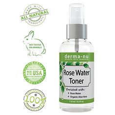 Amazon.com : All Natural Rose Water Facial Toner by Derma-nu - Enriched with Organic Aloe Vera - Best Facial Mist for Sensitive Skin - Pore Minimizer & Skin Hydrator - Gentle Face Spray - 4oz : Beauty
