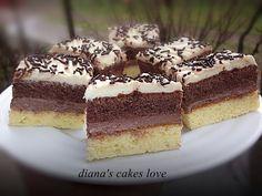 Prăjitură cu două blaturi si două creme Romanian Desserts, Romanian Food, Brownie Muffin Recipe, Muffin Recipes, Biscuits, Caramel, Sweet Treats, Cheesecake, Food And Drink