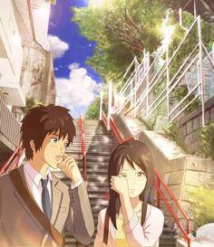 Kimi no na wa: Mitsuha and Taki after the credits. Film Anime, Manga Anime, Kawaii Anime, Mitsuha And Taki, Beste Comics, The Garden Of Words, Your Name Anime, Graphisches Design, Film D'animation