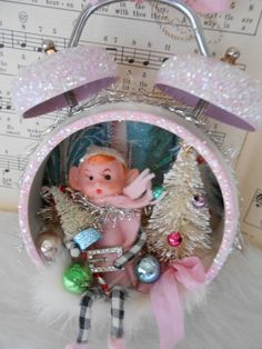 Vintage Knee Hugger Pixie Elf  Christmas Shadow Box Made from An Old Clock