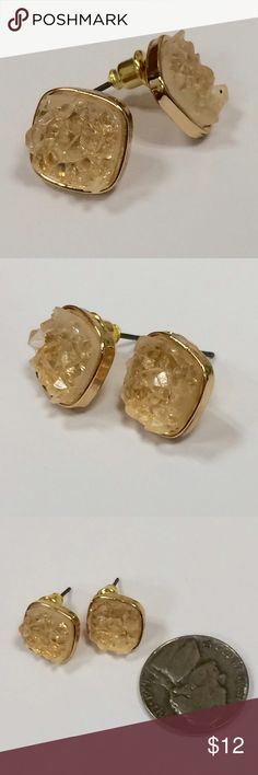 """Clear Square Druzzy Stud Earrings Square gold colored stud earrings with cool spiky stones in a clear, slightly peachy neutral color. When purchased they were advertised as """"druzzy"""" - we're not 100% sure what that means, but we're 100% sure these are awesome! Adds a little sparkle to any look and color goes with everything! Brand new in package. Jewelry Earrings"""