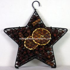 """Outer Banks Country Store - 8"""" Hanging Star with Scented Rosehips Potpourri - Orange, $14.99 (http://www.outerbankscountrystore.com/8-hanging-star-with-scented-rosehips-potpourri-orange/)"""