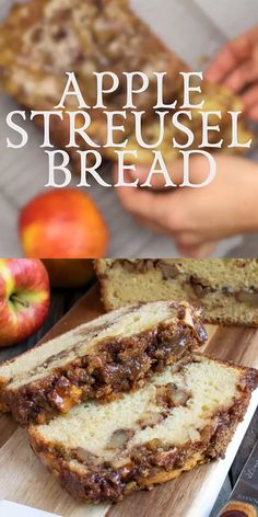 Our Apple Streusel Bread is a sweet cake-like bread with a layer of apple chunks and walnuts in middle and topped with a cinnamon streusel. recipes for a crowd church Apple Streusel Bread Fun Desserts, Delicious Desserts, Desserts With Apples, Autumn Desserts, Baking Desserts, Bread Recipes, Baking Recipes, Egg Recipes, Recipies