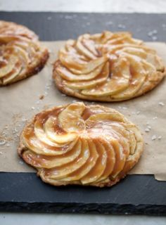 apple tartlets with salted caramel by NikkiJo/ This looks so good to me; but, then, I'm partial to fruit desserts, especially apples.