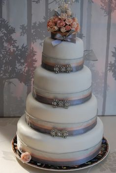 LAURA  VINTAGE STYLE  WEDDING  CAKE   SPARKLING DIAMANTE BOWS SWEET ROSE TOPPER by Stephs cupcakes, via Flickr