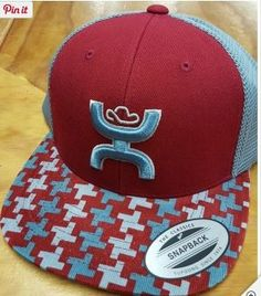 Hooey Barrier Snap Back Cap. Red and blueish grey cap with patterned bill. Matching logo.Snap back one size fits most. Classy Cowgirl Co- Gypsy Cowgirl ,Fun &a