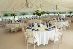 A touch of blue to enhance this marquee wedding! How are you going to brighten up yours?   www.abbasmarquees.co.uk