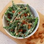 Quick green bean and quinoa salad with roasted almonds and lemon tahini dressing
