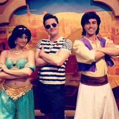 Nick Pitera with Jasmine and Aladdin at Disney World. ❤️