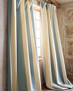 """Home Silks Each Hampton Curtain, 108""""L. Ad these gorgeous blue and soft yellow/cream drapes to any room that needs a tenderness about it but a tenderness that includes something different and colorful. #bluedrapes #nurserydecor #drapes #bluedecor #funkthishouse"""
