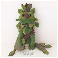Green forest Lion handmade mini felt art doll by TheBigForest