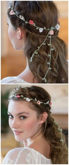 DIY Crochet Flower Headband Free PatternCrochet this pretty spring flower and vine headband in any color, size and length you want. For more Hair Jewelry DIYs go to these links: • bobby-pins • hair-pins • headbands • headpieces • body-armor Find the...