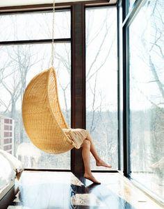 rattan hanging chair design by Nanna Ditzel, photo by Hotze Eisma