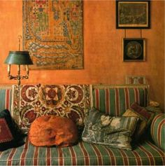 Sitting room, textures, textiles, beautiful colors via: BENNISON FABRICS, LONDON