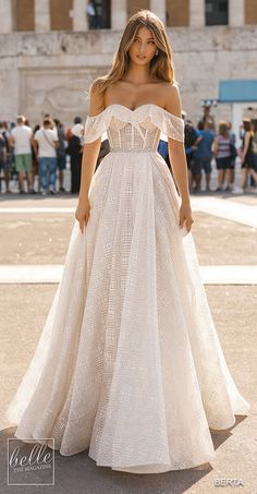 BERTA Bridal Gowns Fall 2019 - Athens Bridal Collection - Brautkleid a linie - Wedding Dresses Fall Wedding Dresses, Bridal Dresses, Princess Wedding Dresses, Lace Wedding, Wedding Ceremony, Wedding Gown A Line, Princess Gowns, Princess Fashion, Princess Bridal