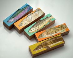 Fish Sticks - Freshwater Fish Art Block Set of 5 Fisherman Gift - Fishing Decor Arts - Gift for Dad - Dad Gift on Etsy, $18.00