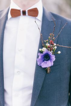 wooden bowtie, purple anemone and twig boutonniere | Candy Capco