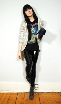 Steff Metal - Metalhead Fashion: In Defense of Daily Outfit Posts Pvc Leggings, Vinyl Leggings, Fetish Fashion, Latex Fashion, Dark Fashion, Pantalon Vinyl, Iron Maiden Shirt, Rock Outfits, Metal Girl