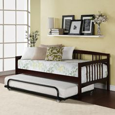 """Kayden Twin Daybed, Espresso. Trundle sold separately. $179 (for white) Floor to bottom of frame is about 13"""". Put bed on risers to fit trundle?"""