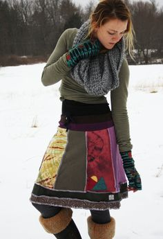 Mountain Sunrise Eco Patchwork Applique Skirt by DarkstarHandmade Applique Skirt, Diy Vetement, Paisley Print, Refashioning, Diy Clothes, Diy Fashion, Alter Pullover, My Style, Fabric