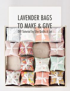 Fabric Crafts Lovely Lavender Bags – Free Tutorial – She Quilts Alot Lavender Crafts, Lavender Sachets, Scented Sachets, Diy Lavender Bags, Sewing Hacks, Sewing Tutorials, Sewing Crafts, Sewing Tips, Craft Tutorials