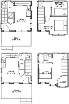 16x16 Tiny Houses -- PDF Floor Plans -- 466 sq ft & 463 sq ft