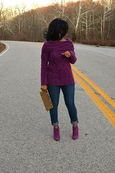 """Purple sweater + purple boots + jeans // """"Sweenee Style"""""""