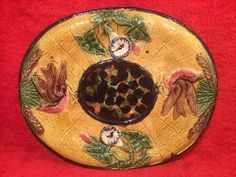 Gorgeous Antique Majolica Birds And Morning Glory Flowers Platter c1800's #Victorian