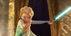 What...Elsa...with a lightsaber...AHHHHILOVETHIS!
