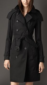 Long Gabardine Hooded Trench Coat with Warmer   Burberry