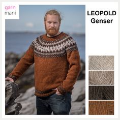 no - Spesialist på islandsk ull Mens Knit Sweater, Icelandic Sweaters, Character Inspiration, Knit Crochet, The North Face, Pullover, Knitting, Beige, Black