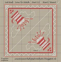 Creative Workshops from Hetti: SAL Delft Red Love To Stitch Part 12 Biscornu Cross Stitch, Mini Cross Stitch, Cross Stitch Charts, Cross Stitch Designs, Cross Stitch Embroidery, Cross Stitch Patterns, Needle Book, Needle And Thread, Needle Case