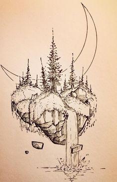 Inner right thigh Pencil Art Drawings, Cool Art Drawings, Art Sketches, Landscape Drawings, Landscape Art, Ink Pen Art, Arte Sketchbook, Sketch Inspiration, Doodle Art
