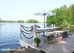 Mökki kurottaa järven ylle | Meidän Mökki Lake Cottage, Cottage Homes, Cottage Style, Outdoor Spaces, Outdoor Living, Scandinavian Cottage, Deck Over, Old Country Houses, Hamptons House