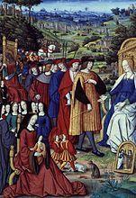 """Jean Pichore : Louis XII et sa cour avançant devant la desse Fortune, miniature extraite des """" Remèdes de l'une et l'autre Fortune"""" de Pétrarque, BNF- Jean Pichore est un peintre enlumineur et imprimeur dont l'activité est attestée entre 1502 et 1521 à Paris. On ne connait ni sa date de naissance ni de décès. Les 1° traces de son activité sont mentionnées dans les livres de comptes du cardinal d'Amboise en 1502 en son chateau de Gaillon, où il est mentionné en tant que miniaturiste."""