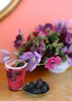 1 1/2 shots of vodka 4-6 fresh blackberries Grapefruit juice (get fancy and make it fresh, totally worth it!) Lime wedge Kosher Salt