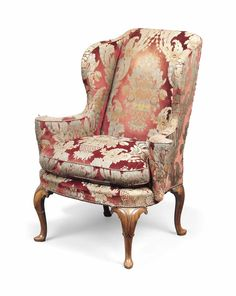 Wing Back Armchair / Queen Anne Legs Queen Anne Furniture, Queen Anne Chair, Georgian Furniture, Antique Furniture, Art Deco Furniture, Funky Furniture, Furniture Styles, Furniture Design, Winged Armchair