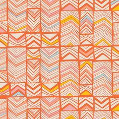 Geos in Bright Mandarin from Art Gallerys Meadow Collection by Leah Duncan. More fabrics from the Meadow collection can be seen here: