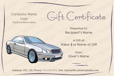 TRAVEL GIFT VOUCHER CERTIFICATE TEMPLATE ExeclTemplate - Car gift certificate template