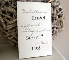 "Sign wood ""Sometimes an angel comes ."" Shabby chic- Schild Holz ""Manchmal kommt ein Engel …"" Shabby Chic Sign wood ""Sometimes an angel comes …"" Shabby – wall decoration – wall design – handmade with love in Salzbergen, Germany by white-living-art Christmas Tree Themes, Noel Christmas, Shabby Chic Signs, Shabby Look, Little Star, Birthday Quotes, Pin Collection, Cute Gifts, Wall Design"