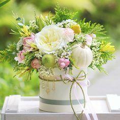 Lemon flowerbox with so cute pumpkin🍋💕🌿